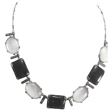 Art Deco Sterling Silver Black Onyx, Camphor Glass & Marcasite Choker Necklace