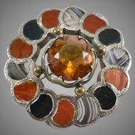 Victorian Scottish Silver, Agate, Jasper & Glass Cairngorm Pin/Brooch