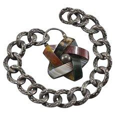 Victorian Scottish Silver, Agate & Jasper Bracelet w/ Padlock Clasp