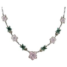 Sterling Silver & Enamel Floral 16 Inch Choker Necklace