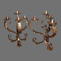 Pair of Italian Silver Gilt Four Light Tole Candle Holders Candelabra  Lights