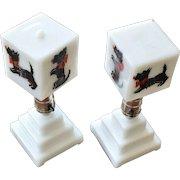 Pair of Milk Glass Scottie  Dog Lamps
