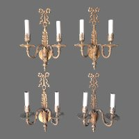 Matching set of 4 French Louis XVI Dore Bronze Wall Sconces