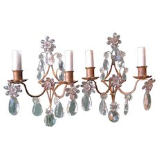 Gold Gilt Sconces with Purple and Clear Prisms