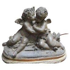 French 19th Century Signed Terracotta Kissing Putti/Cherub Statue Lamp
