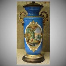 Large Paris Porcelain Hand Painted 3-Light Table Lamp