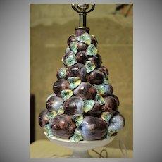 Italian Ceramic Plum Topiary Table Lamp