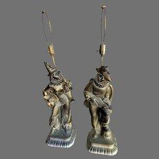 Vtg Pair Pierrot/Jester/Harlequin Jane Fool Lamps Van Cleff Mario Monteleone