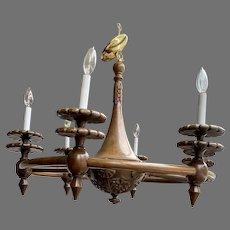 Carved Wood Wooden Spoke European Chandelier Light Fixture