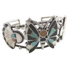 Zuni Sterling Silver Butterfly & Sun Face Inlaid Cuff Bracelet - Red Tag Sale Item