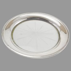 Sterling Silver & Glass Wine Bottle Coaster or Lemon Serving Dish