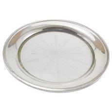 Sterling Silver & Glass Wine Bottle Coaster or Lemon Serving Dish