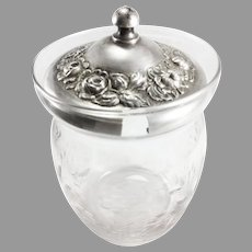Stieff Repousse Sterling Cover Etched Glass Jam/Jelly Jar