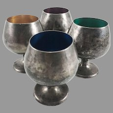 Set of 4 Gorham Sterling Silver Cordial Cups w/ Colored Enamel Interiors