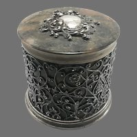 English Sterling Silver Faux Tortoise Lined Covered Dresser Jar