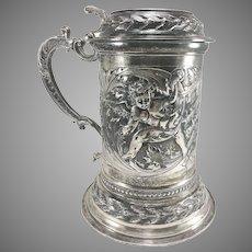 Italian 800 Silver Cherub Embossed Lidded Stein/Tankard 1080 Grams
