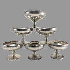 Set of 6 Sterling Silver Sherbet Dessert Cups 17 ozt #3513
