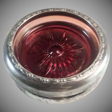 Sterling Silver Rimmed Coaster w/ Ruby Flashed Glass