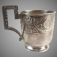 Russian 84 Silver Cup Embossed Eagle & Wreath