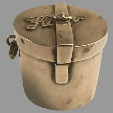 English Sterling Silver Miniature Travel Hatbox Chatelaine Pill Box 1902