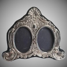 Keyford Frames Ltd English Sterling Silver Embossed Desk Vanity Double Picture Frame