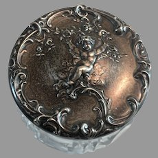 Sterling Silver Lidded Cut Glass Dresser Jar w/ Cherub/Putto by Mauser Mfg. Co.