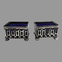 Pair Cobalt Glass Sterling Silver Footed Open Salt Cellars by Ryrie Bros. (Birks)