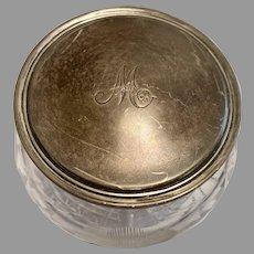 English Sterling Silver Top Cut Glass Dresser Jar