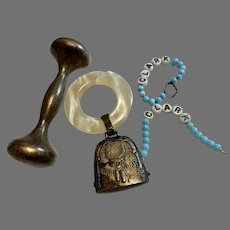 Sterling Silver Baby Dumbbell & Cowbell  Rattle Bracelet Lot
