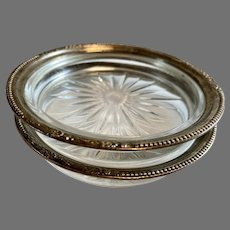 Amston Sterling Silver Rimmed & Glass Coasters or Lemon Dishes a Pair