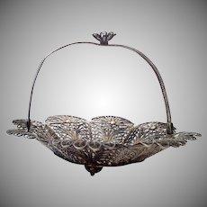 Lovely Doll's Silver Filigree Handled Basket