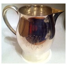 Sterling Silver Monogrammed Paul Revere Reproduction Water Pitcher 738 Grams