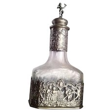 Hanau 800 Silver Etched Glass Decanter Cologne Bottle Putti Stopper