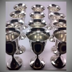 Set of 12 Matching Stieff Sterling Silver Water Goblets