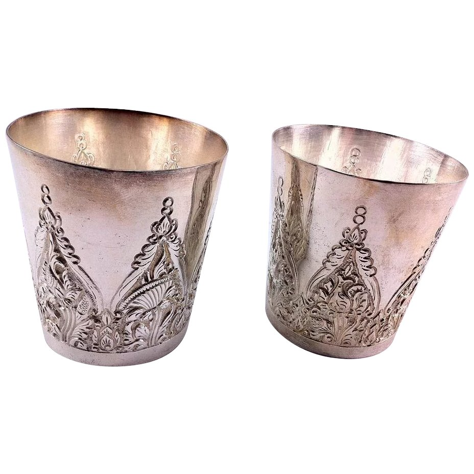 Pair 800 Silver Sms Floral Mold And Etch Decorated Cups