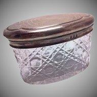 Levi & Salaman Birmingham Oval Sterling Silver Top Dresser Jar 1920