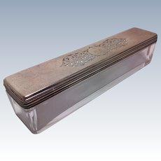 Georgian Glass Dresser/Desk Box with Pierced Sterling Silver Top