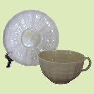 Belleek Tridacna First Green Mark Flat Cup and Saucer