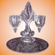 New Martinsville 1940's Florentine pattern clear candle holder