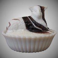 Westmoreland Slag Purple and White Glass Sheep Covered Dish