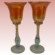 Rick Strini Designed and Signed Pair of Luster Art Glass Wine Glasses