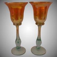Rick Strini Designed and Signed Pair of Luster Art Glass Wine Glasses