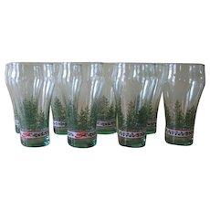 Vintage Libbey Glass Coca Cola Christmas Flat Tumblers