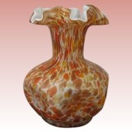 Fenton Vasa Murrhina Autumn Orange Pinched Crimped Vase