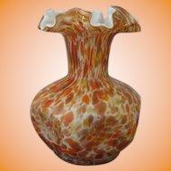 Fenton Vasa Murrhina Autumn Orange Pinched Crimped Vase