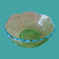 "Fenton Waterlily & Cattails Green Opalescent 8"" Bowl"