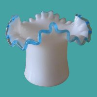 Fenton Aqua Crest Milk Glass Vase # 1924