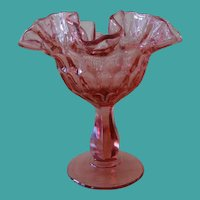 Fenton Thumbprint Colonial Pink Crimped Round Compote # 4429