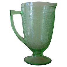 Indiana Green Depression Glass #612/Horseshoe Pattern Pitcher