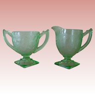 Indiana Green Depression Glass #612/Horseshoe Open Sugar and Creamer